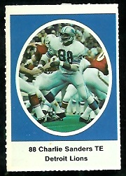 Charlie Sanders 1972 Sunoco Stamps football card