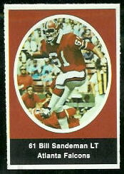 Bill Sandeman 1972 Sunoco Stamps football card