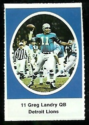 Greg Landry 1972 Sunoco Stamps football card