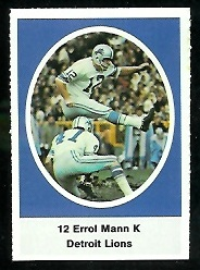 Errol Mann 1972 Sunoco Stamps football card