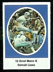 Errol Mann 1972 Sunoco Stamps football card