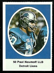 Paul Naumoff 1972 Sunoco Stamps football card