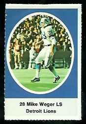 Mike Weger 1972 Sunoco Stamps football card