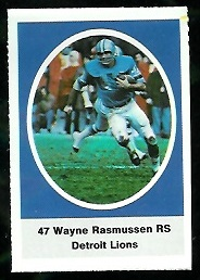 Wayne Rasmussen 1972 Sunoco Stamps football card