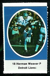 Herman Weaver 1972 Sunoco Stamps football card