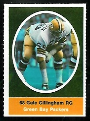Gale Gillingham 1972 Sunoco Stamps football card