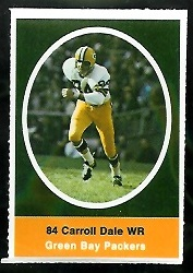 Carroll Dale 1972 Sunoco Stamps football card