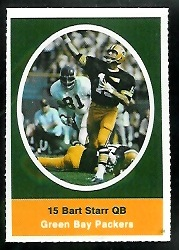 Bart Starr 1972 Sunoco Stamps football card