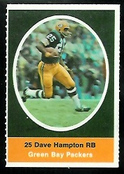 Dave Hampton 1972 Sunoco Stamps football card