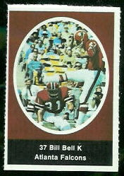 Bill Bell 1972 Sunoco Stamps football card