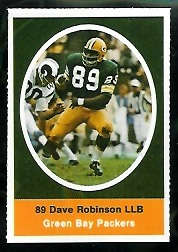 Dave Robinson 1972 Sunoco Stamps football card