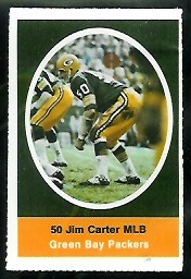 Jim Carter 1972 Sunoco Stamps football card
