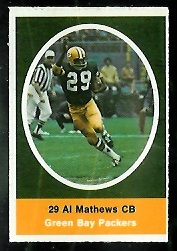 Al Matthews 1972 Sunoco Stamps football card