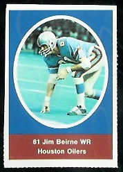 Jim Beirne 1972 Sunoco Stamps football card
