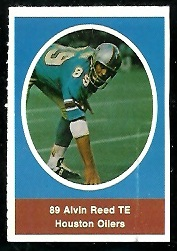 Alvin Reed 1972 Sunoco Stamps football card