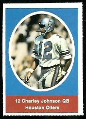 Charley Johnson 1972 Sunoco Stamps football card