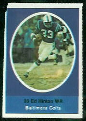 Eddie Hinton 1972 Sunoco Stamps football card