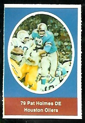 Pat Holmes 1972 Sunoco Stamps football card