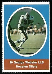 George Webster 1972 Sunoco Stamps football card