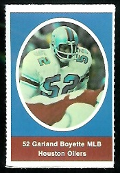 Garland Boyette 1972 Sunoco Stamps football card