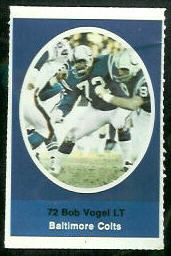 Bob Vogel 1972 Sunoco Stamps football card