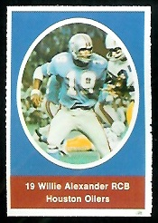Willie Alexander 1972 Sunoco Stamps football card