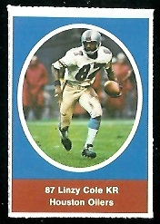 Linzy Cole 1972 Sunoco Stamps football card