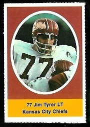 Jim Tyrer 1972 Sunoco Stamps football card