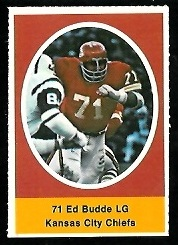 Ed Budde 1972 Sunoco Stamps football card