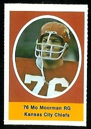 Mo Moorman 1972 Sunoco Stamps football card