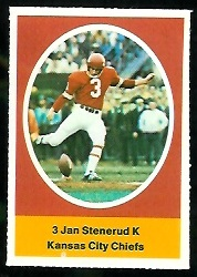Jan Stenerud 1972 Sunoco Stamps football card