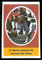 Marvin Upshaw 1972 Sunoco Stamps football card