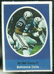 Bill Curry 1972 Sunoco Stamps football card
