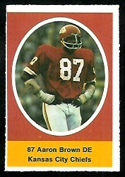 Aaron Brown 1972 Sunoco Stamps football card