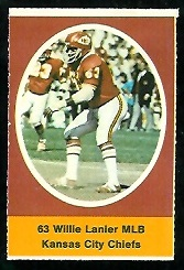 Willie Lanier 1972 Sunoco Stamps football card