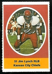 Jim Lynch 1972 Sunoco Stamps football card
