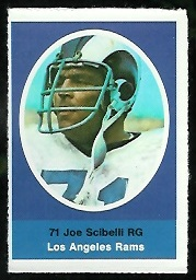 Joe Scibelli 1972 Sunoco Stamps football card
