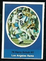 Harry Schuh 1972 Sunoco Stamps football card