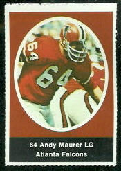Andy Maurer 1972 Sunoco Stamps football card
