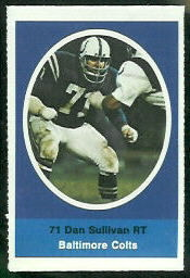 Dan Sullivan 1972 Sunoco Stamps football card