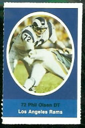 Phil Olsen 1972 Sunoco Stamps football card