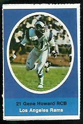 Gene Howard 1972 Sunoco Stamps football card