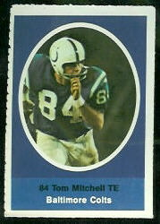 Tom Mitchell 1972 Sunoco Stamps football card