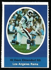 Dave Elmendorf 1972 Sunoco Stamps football card