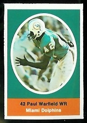Paul Warfield 1972 Sunoco Stamps football card