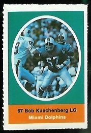 Bob Kuechenberg 1972 Sunoco Stamps football card