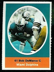 Bob DeMarco 1972 Sunoco Stamps football card