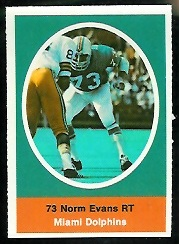 Norm Evans 1972 Sunoco Stamps football card