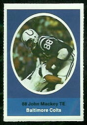 John Mackey 1972 Sunoco Stamps football card