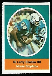 Larry Csonka 1972 Sunoco Stamps football card